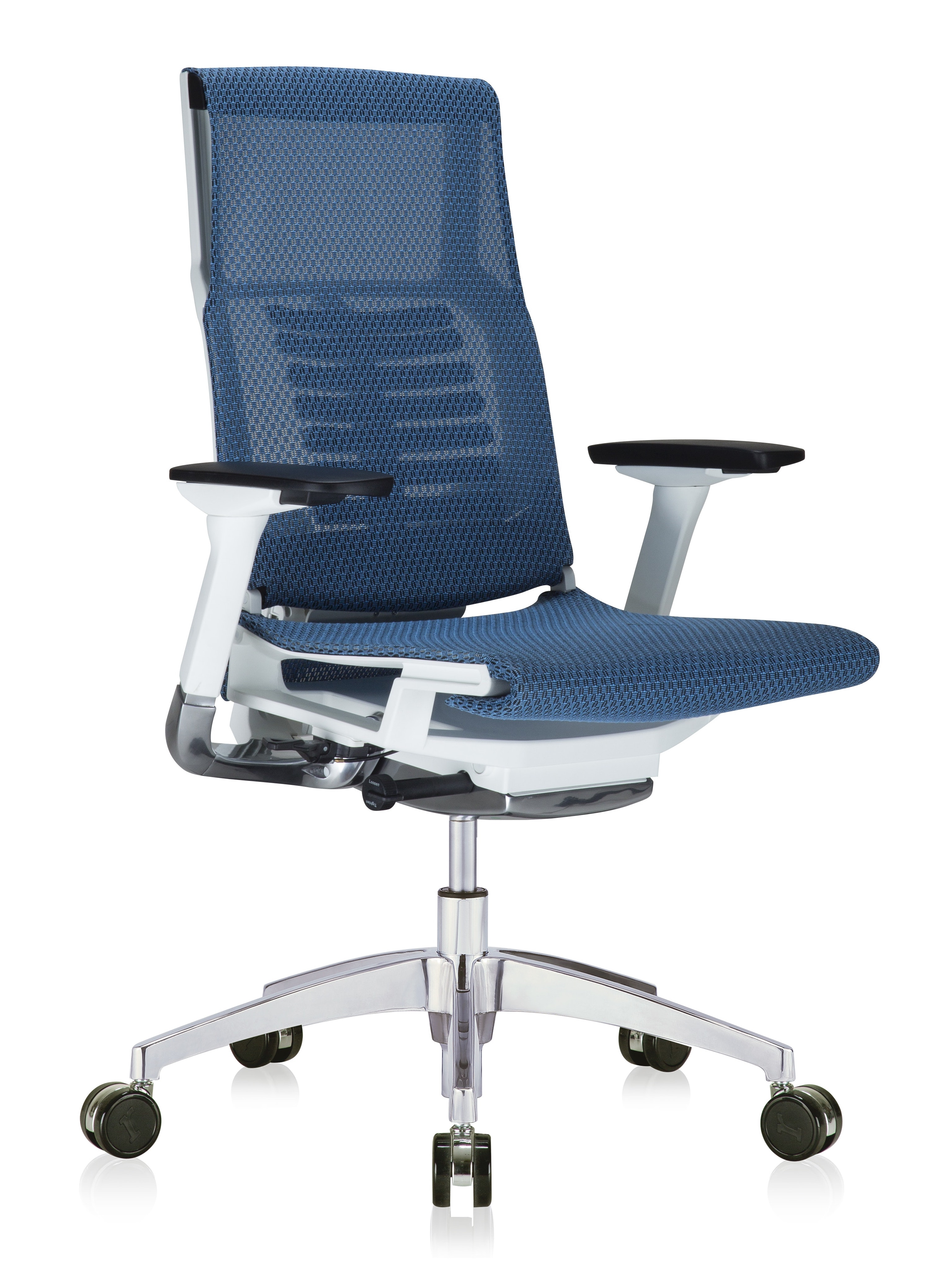 powerfit white frame office chair with blue mesh seat and mesh back