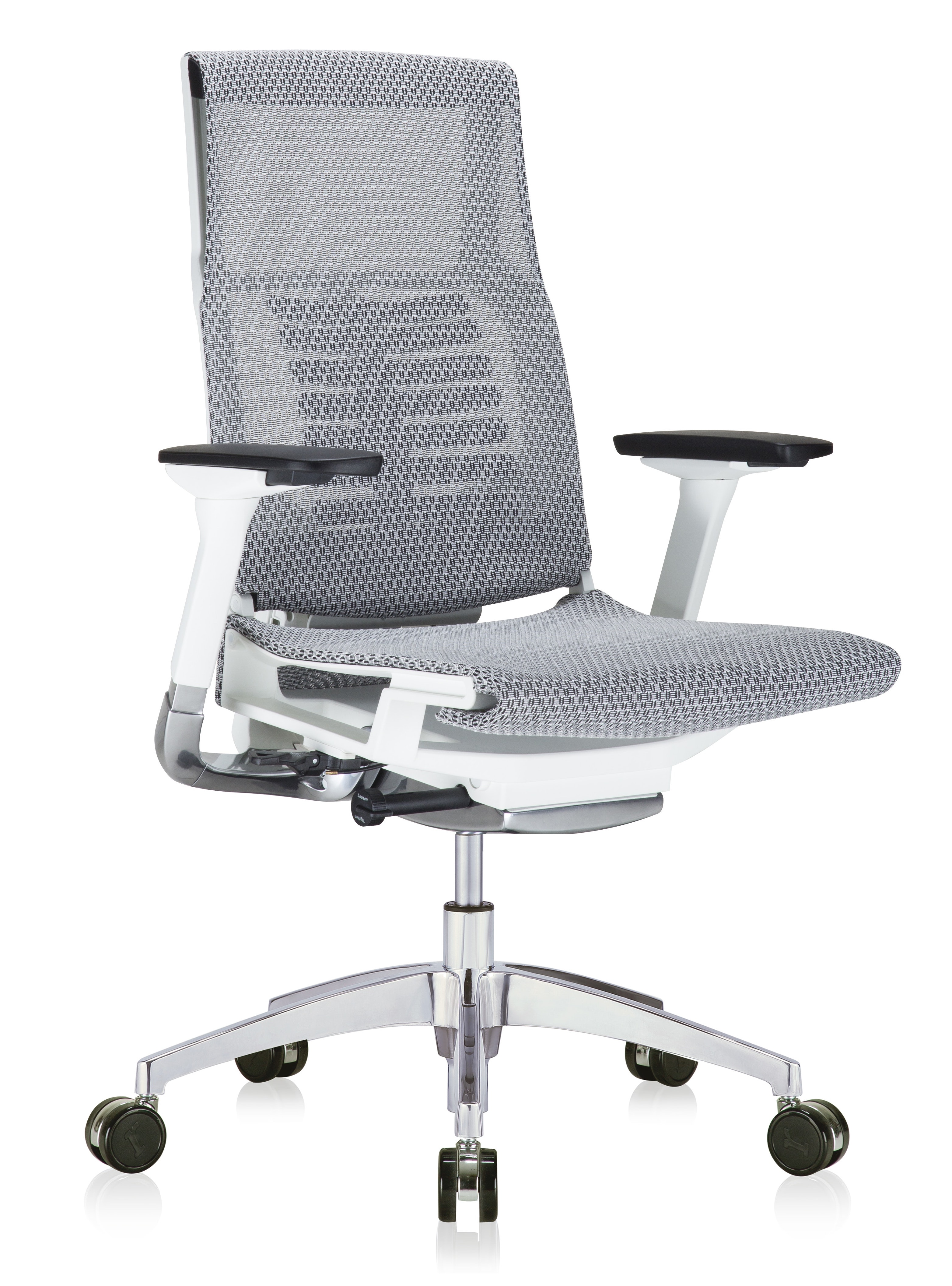 powerfit white frame office chair with grey mesh seat and back
