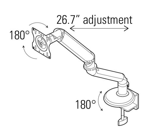 global single screen monitor arm adjustments