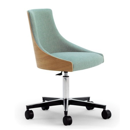 albert one desk chair with wood back shell