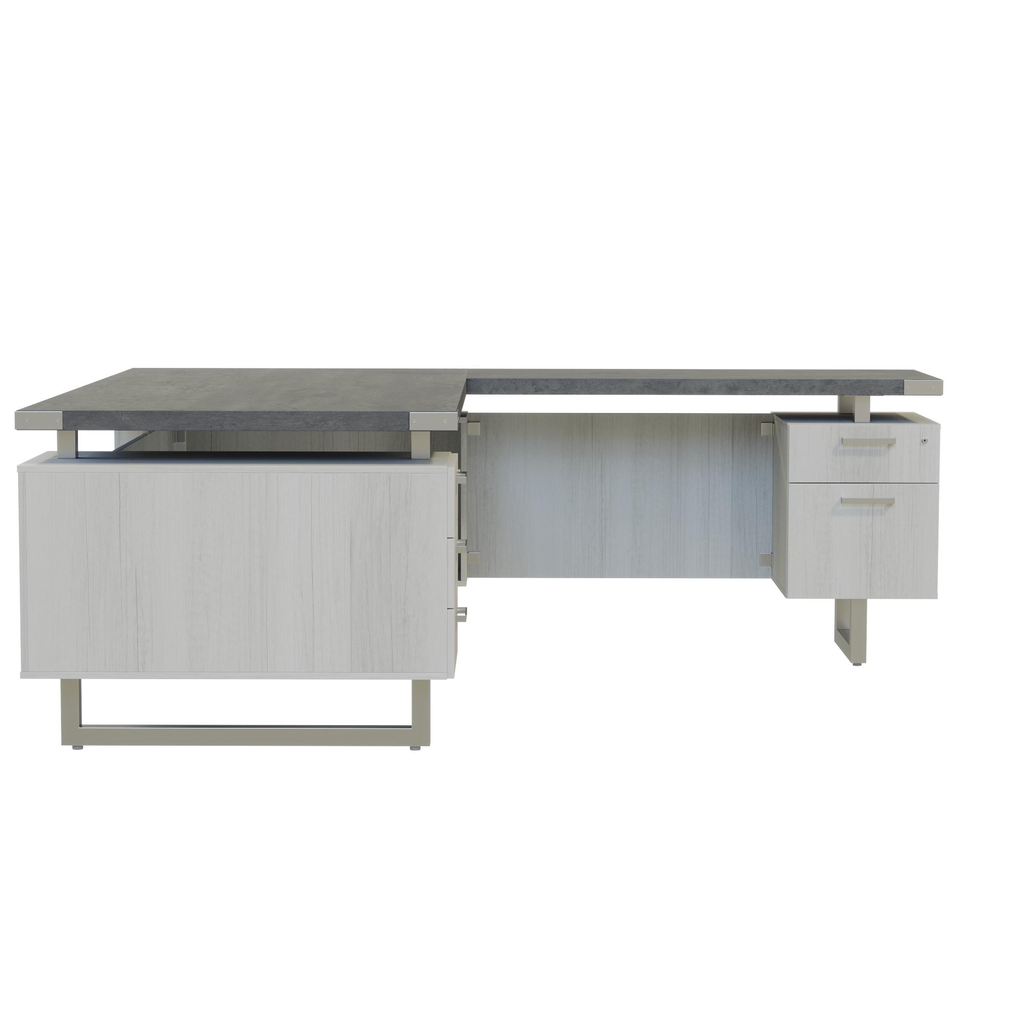 72 x 78 mirella reversible l desk with stone gray finish
