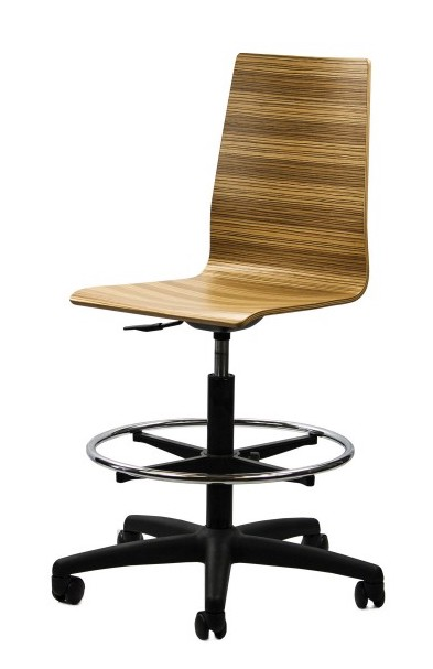 mila curved wood drafting chair