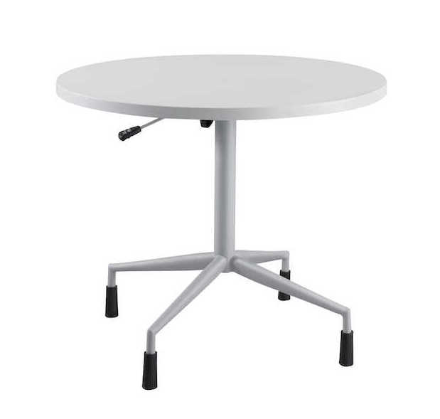 rsvp table with gray top and silver base