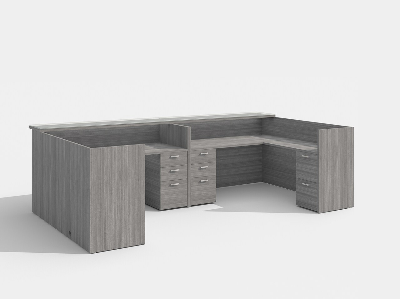 amber 2 person reception desk in valley gray