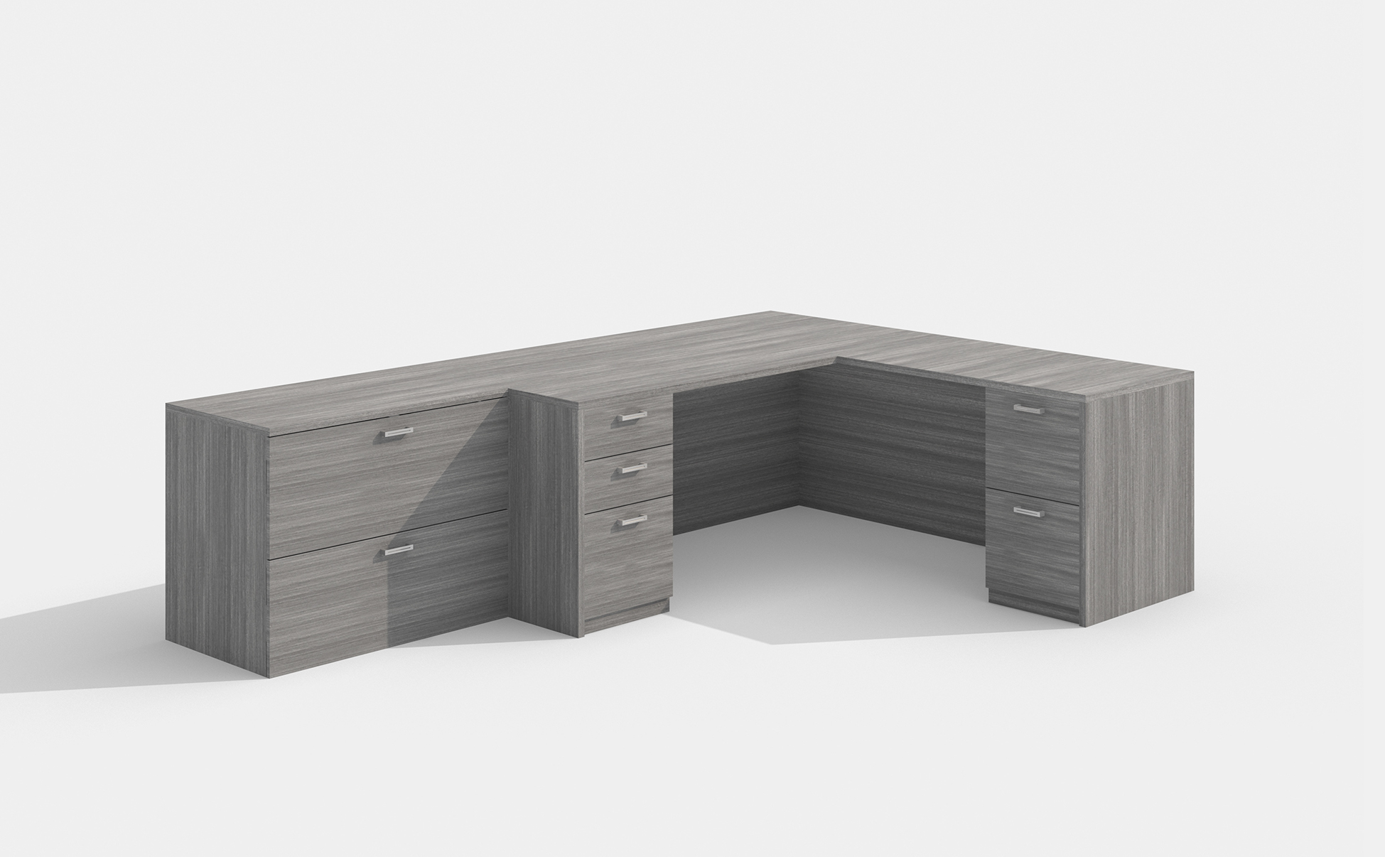 amber l desk in valley gray with lateral file