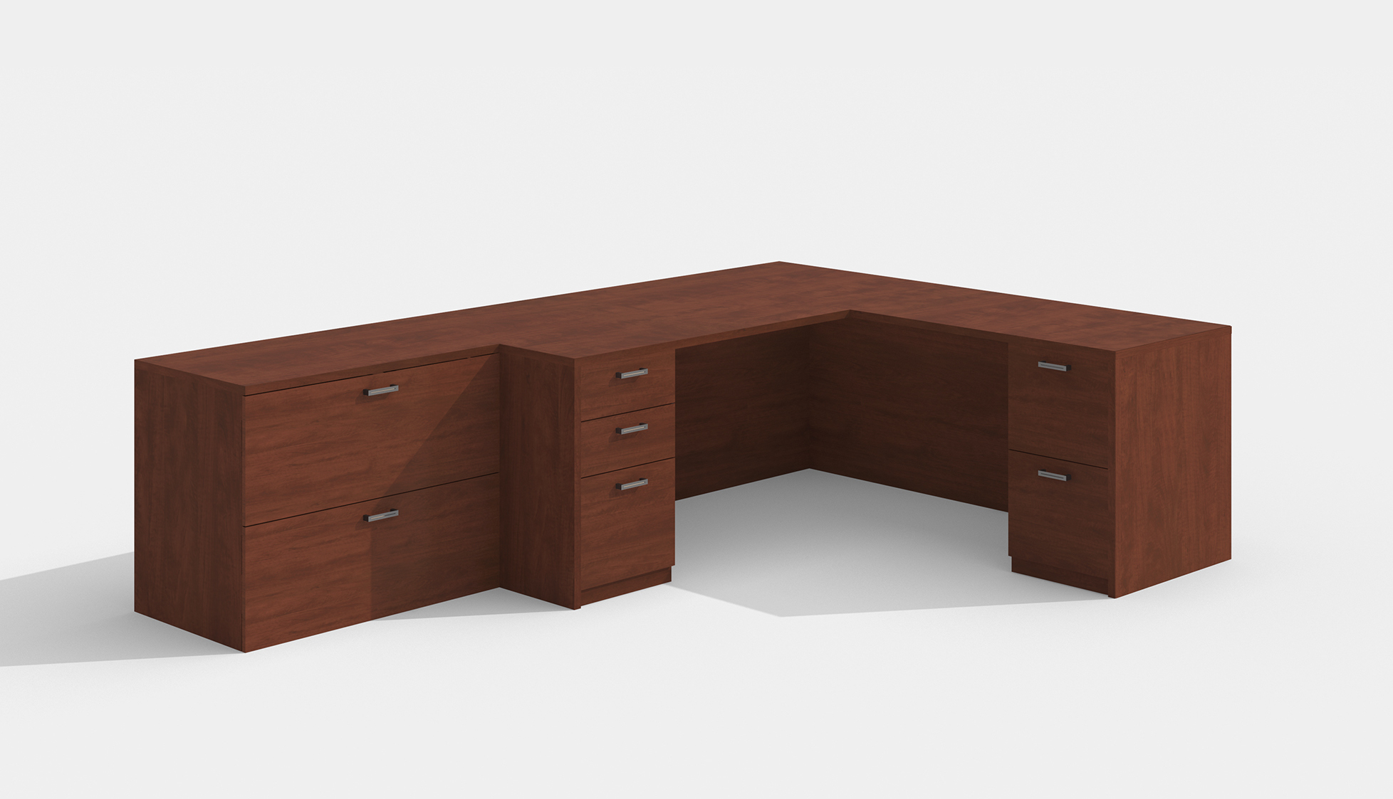 amber l desk in cherry with lateral file