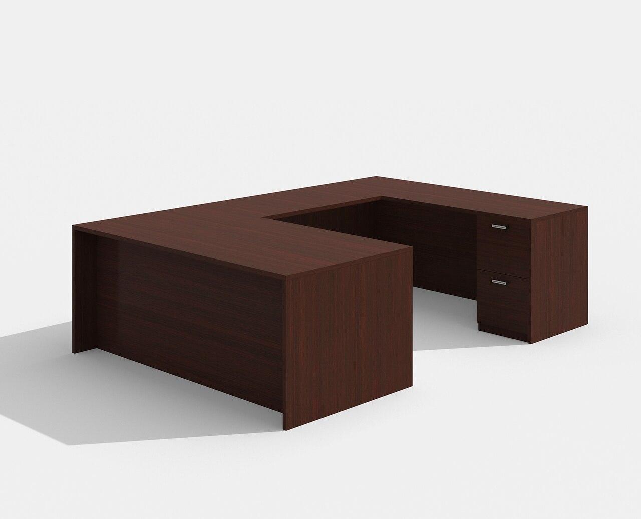 am-422n amber straight front mahogany u desk