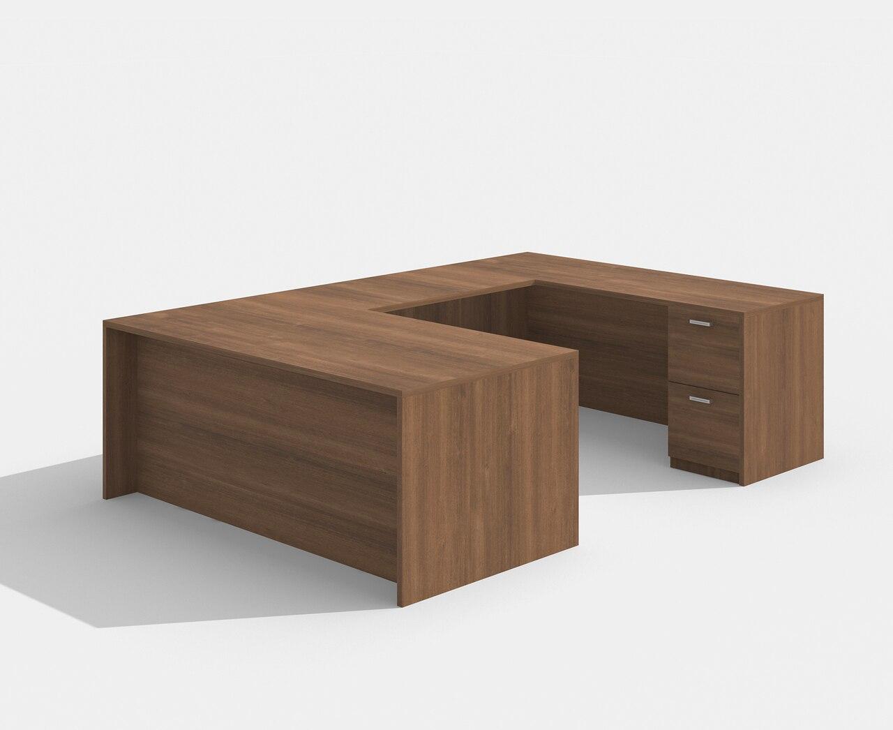am-422n amber straight front walnut u desk