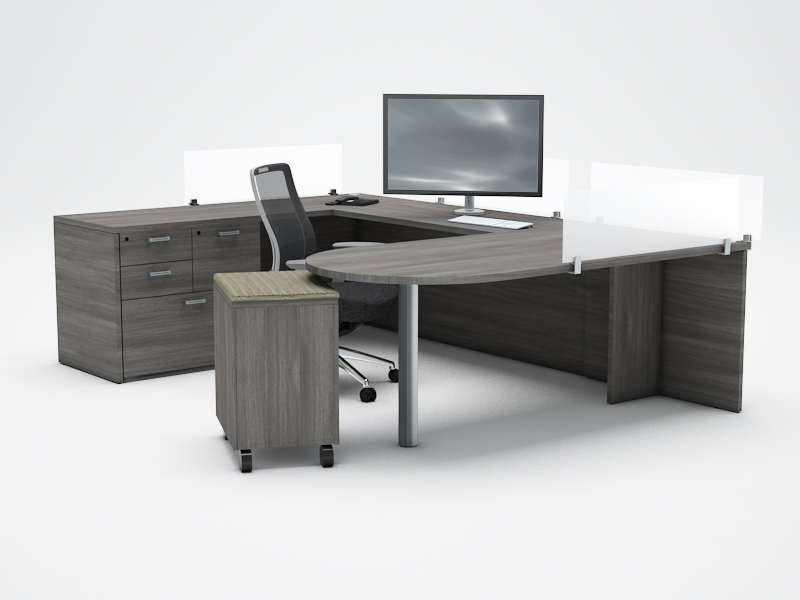 amber collaborative u-desk with privacy screens