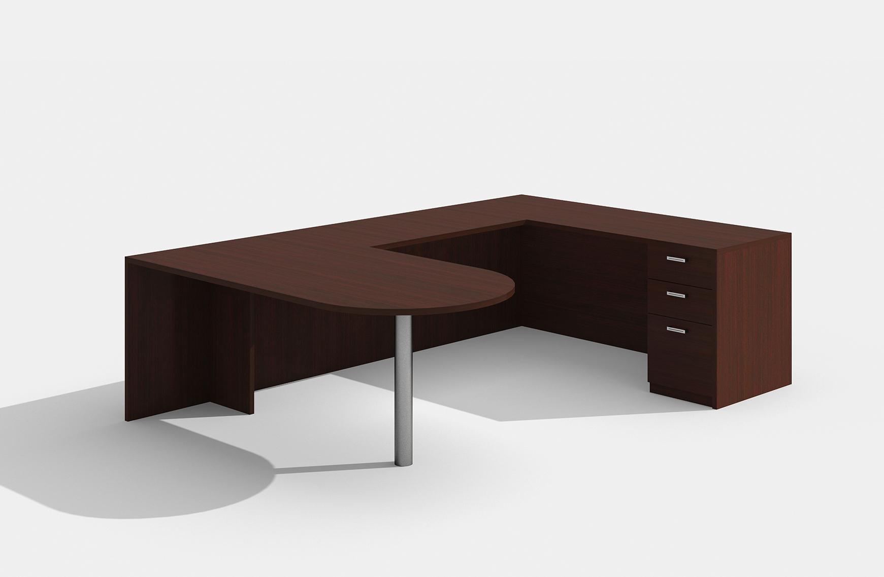 am-361n amber u desk in mahogany