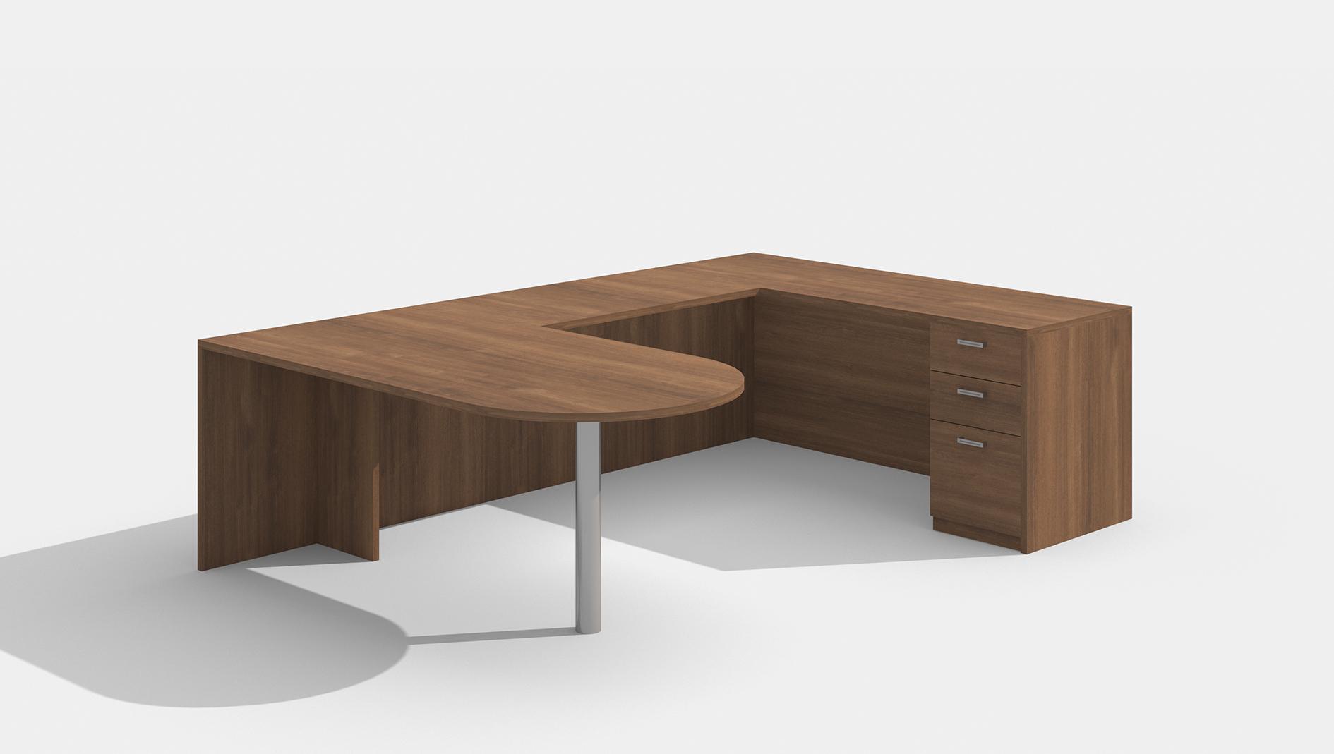 am-361n amber u desk in walnut