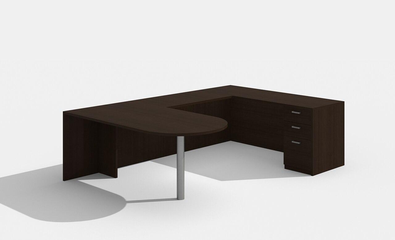 am-362n amber u desk in black cherry