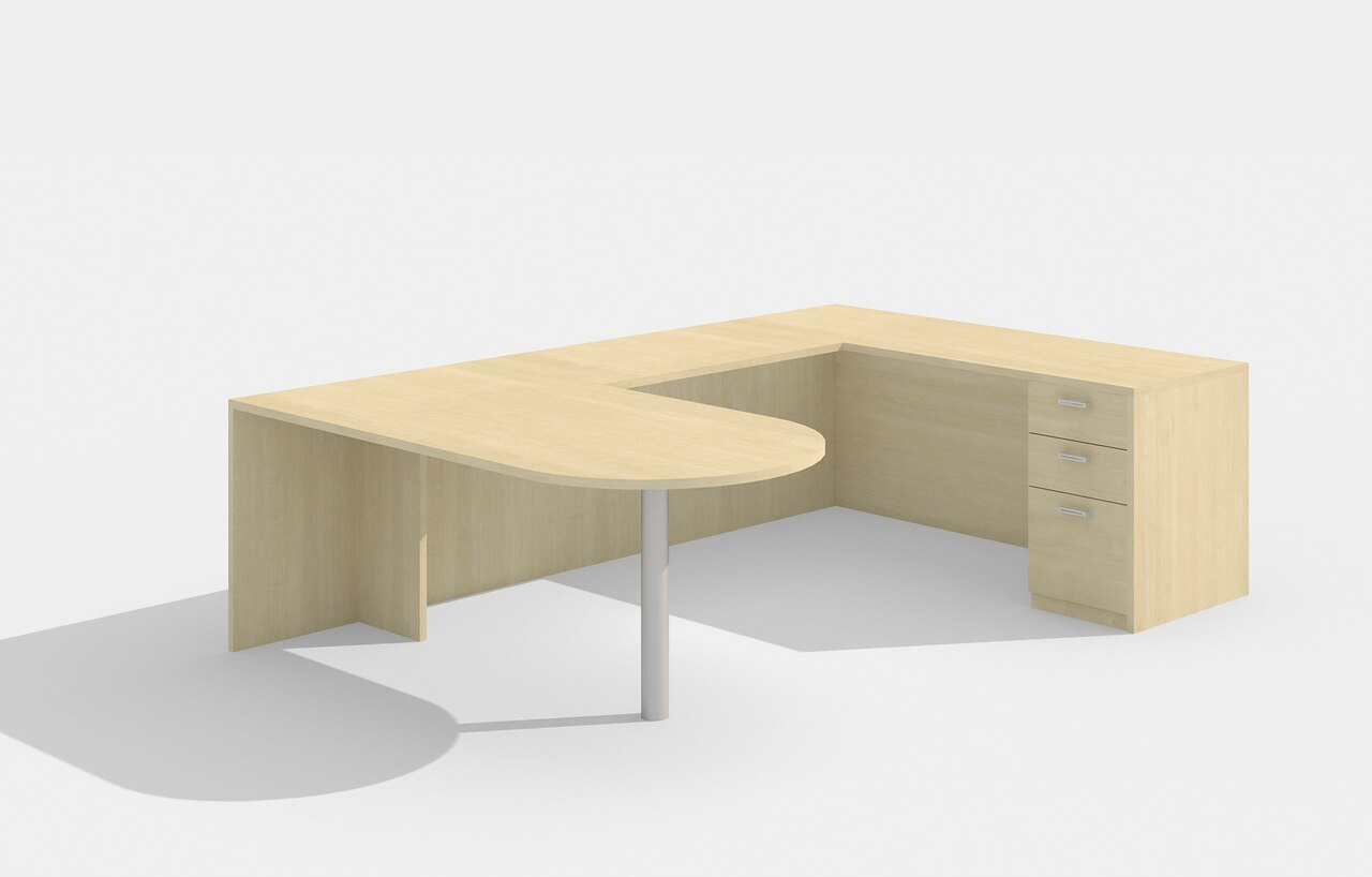 am-379n amber u desk in maple