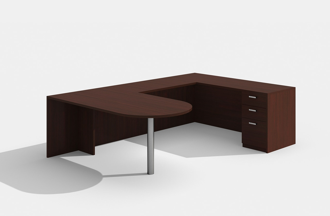 am-379n amber u desk in mahogany