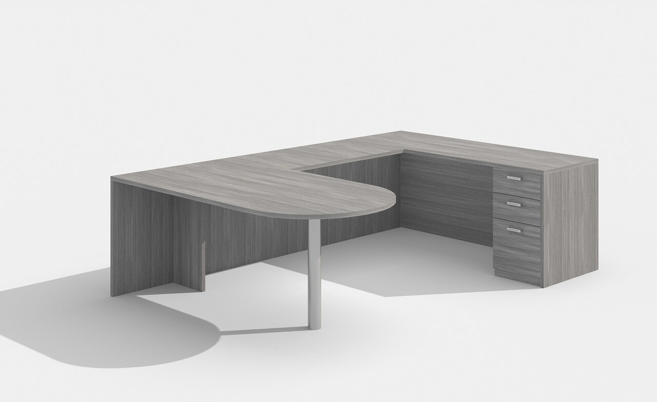 am-380n amber u desk in valley gray