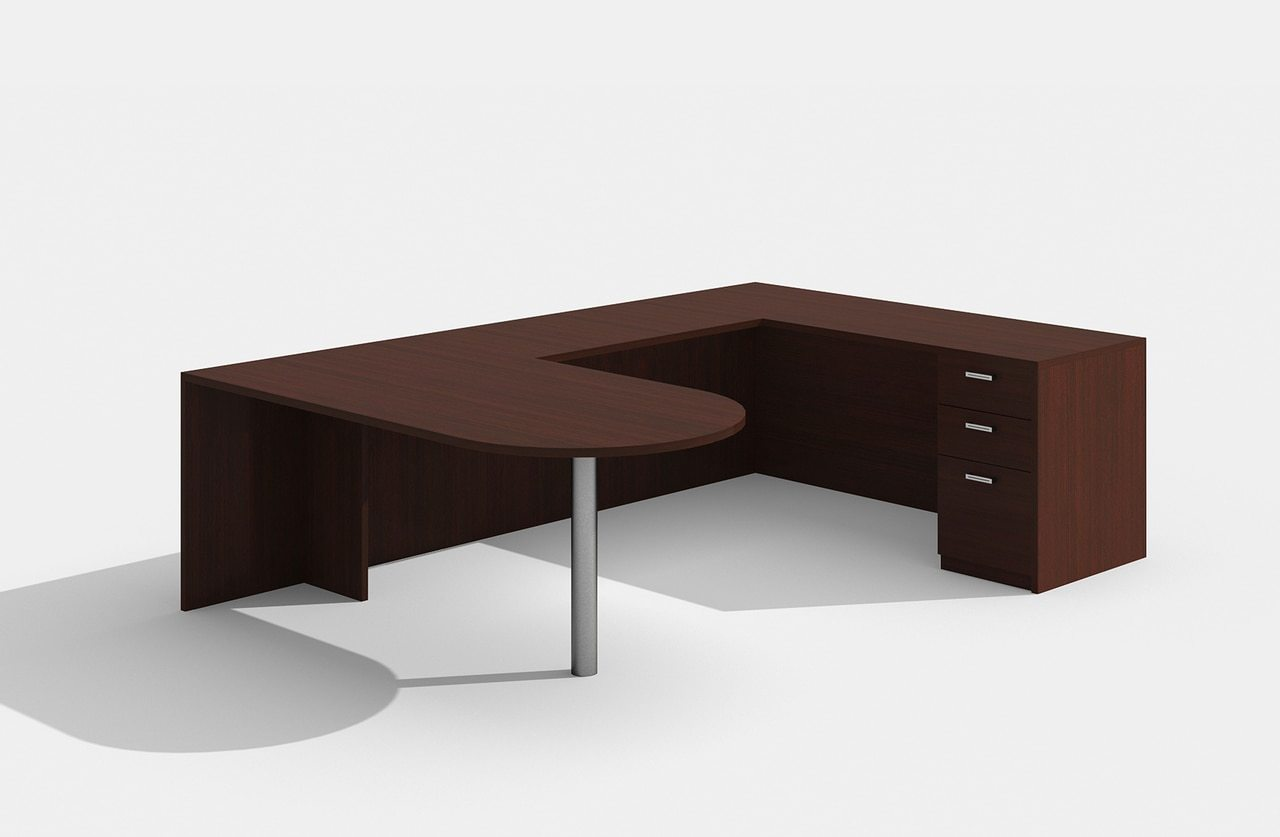 am-380n amber u desk in mahogany