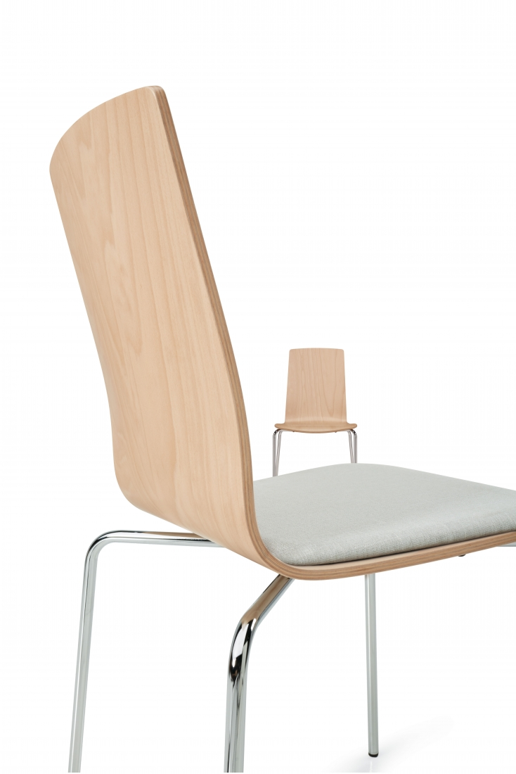 sas stack chair with upholstered seat