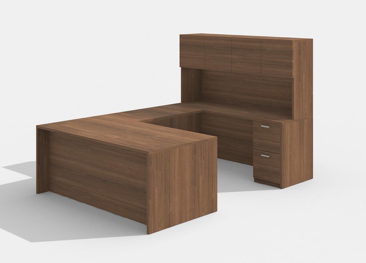am-422n amber u desk with hutch in walnut
