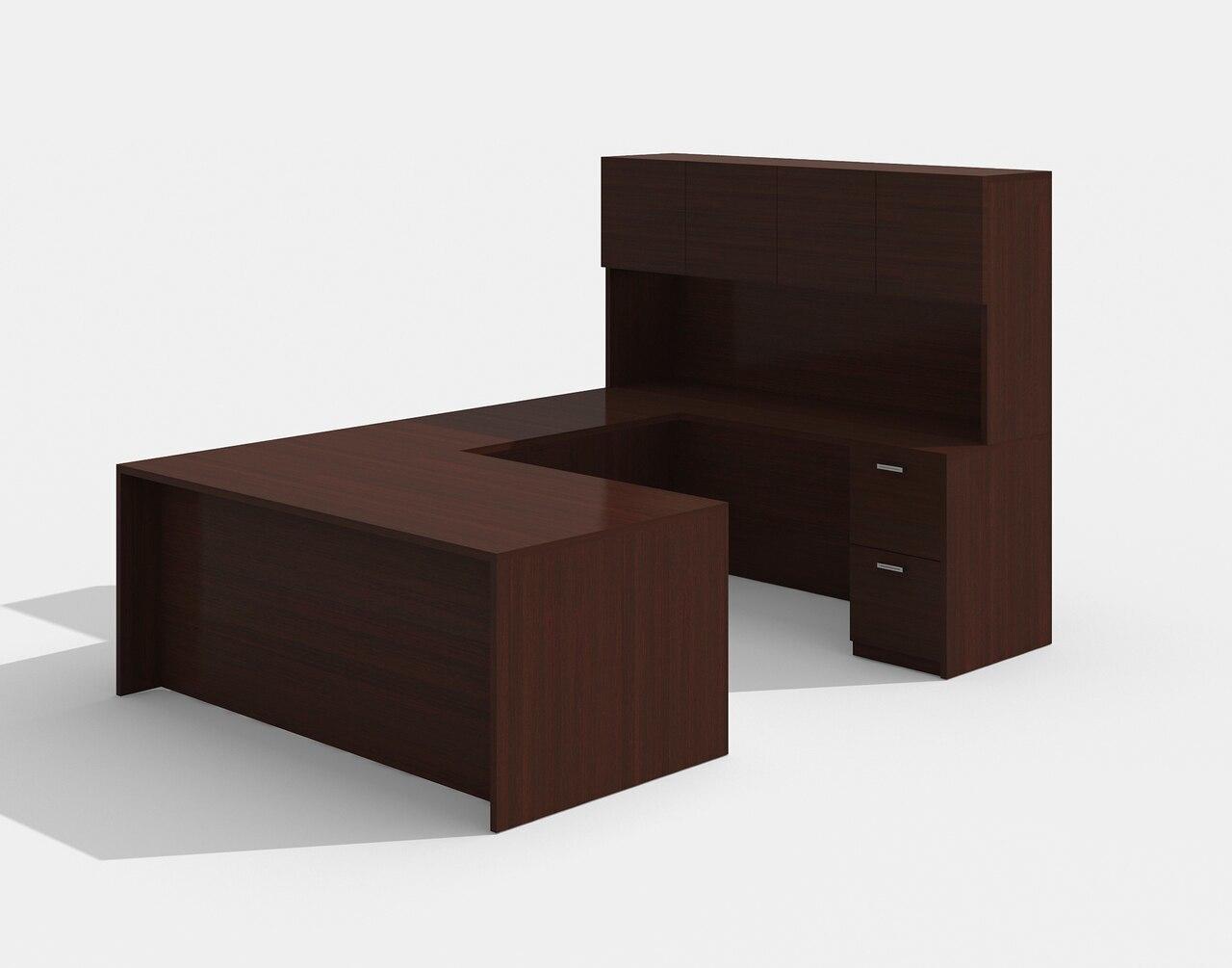 am-422n amber u desk with hutch in mahogany