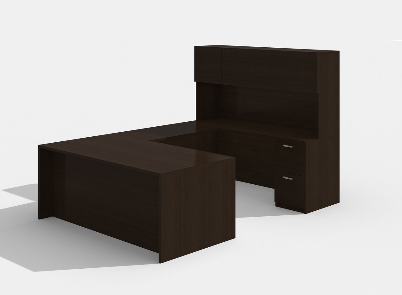 am-350n amber u desk with hutch in black cherry