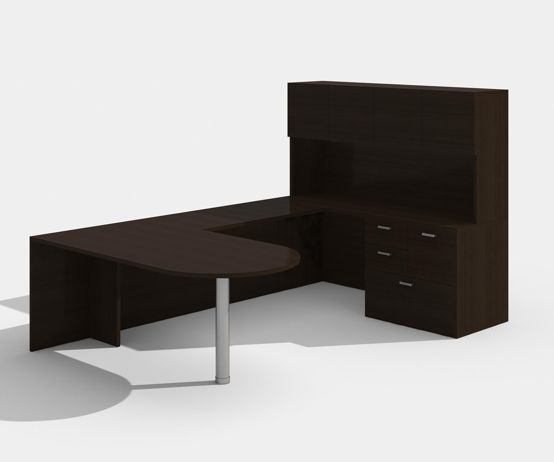 black cherry am-363n amber bullet shape u desk with hutch