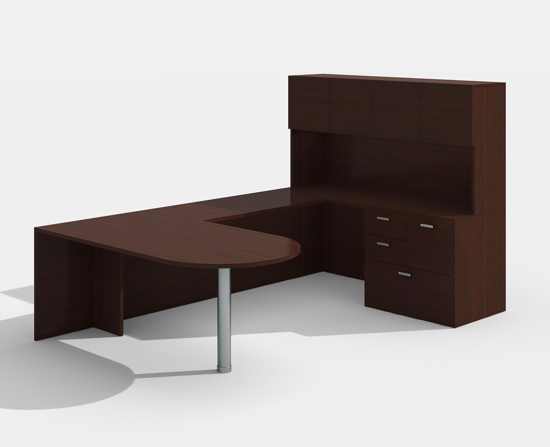 mahogany am-363n amber bullet shape u desk with hutch