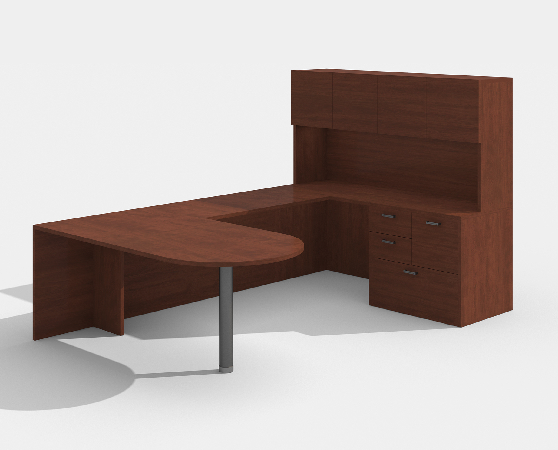 cherry am-363n amber bullet shape u desk with hutch