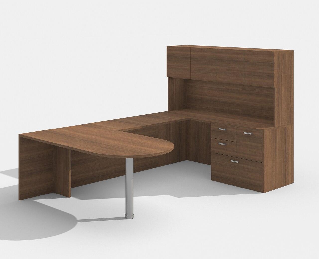 walnut am-364n amber bullet shape u desk with hutch