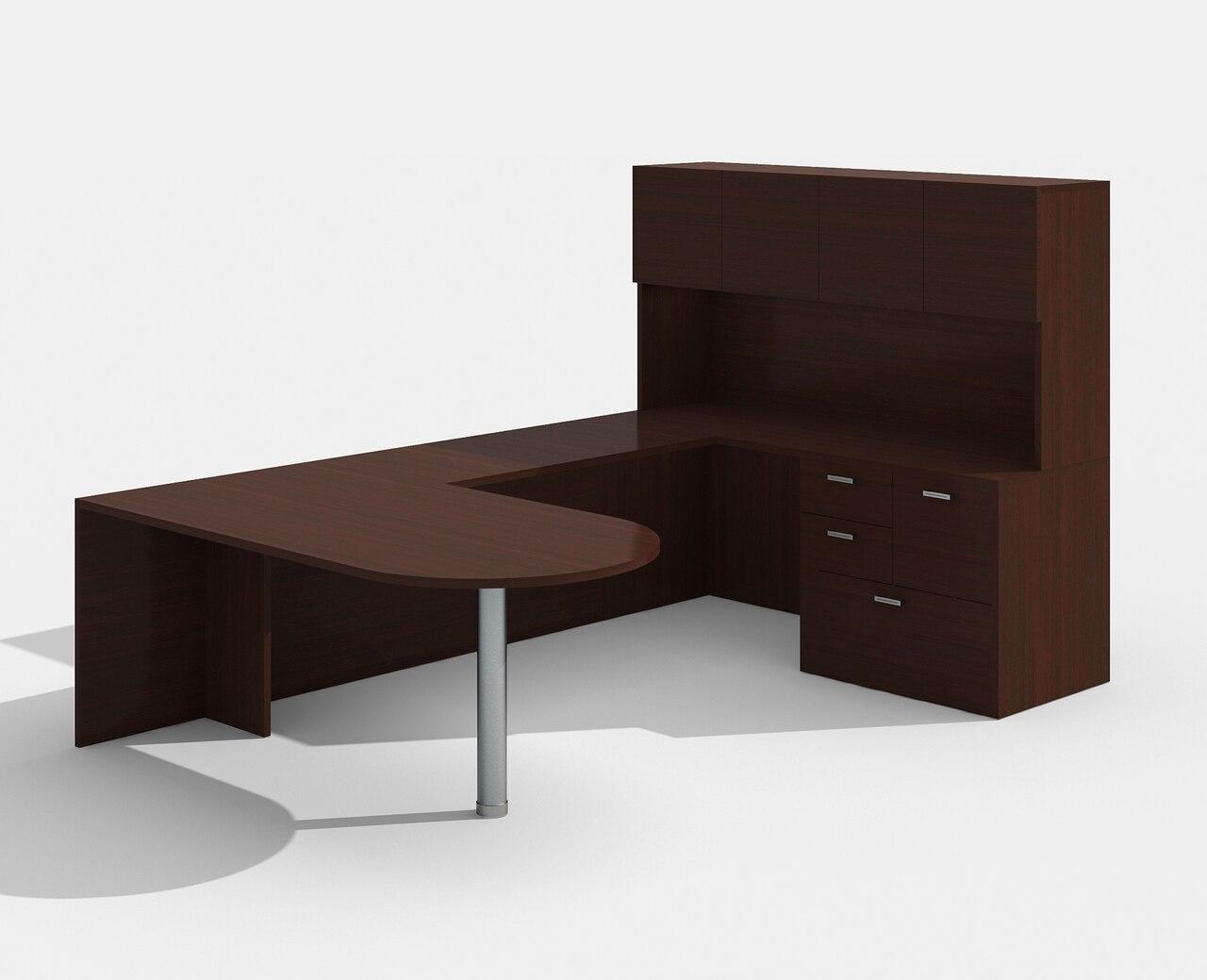 mahogany am-364n amber bullet shape u desk with hutch