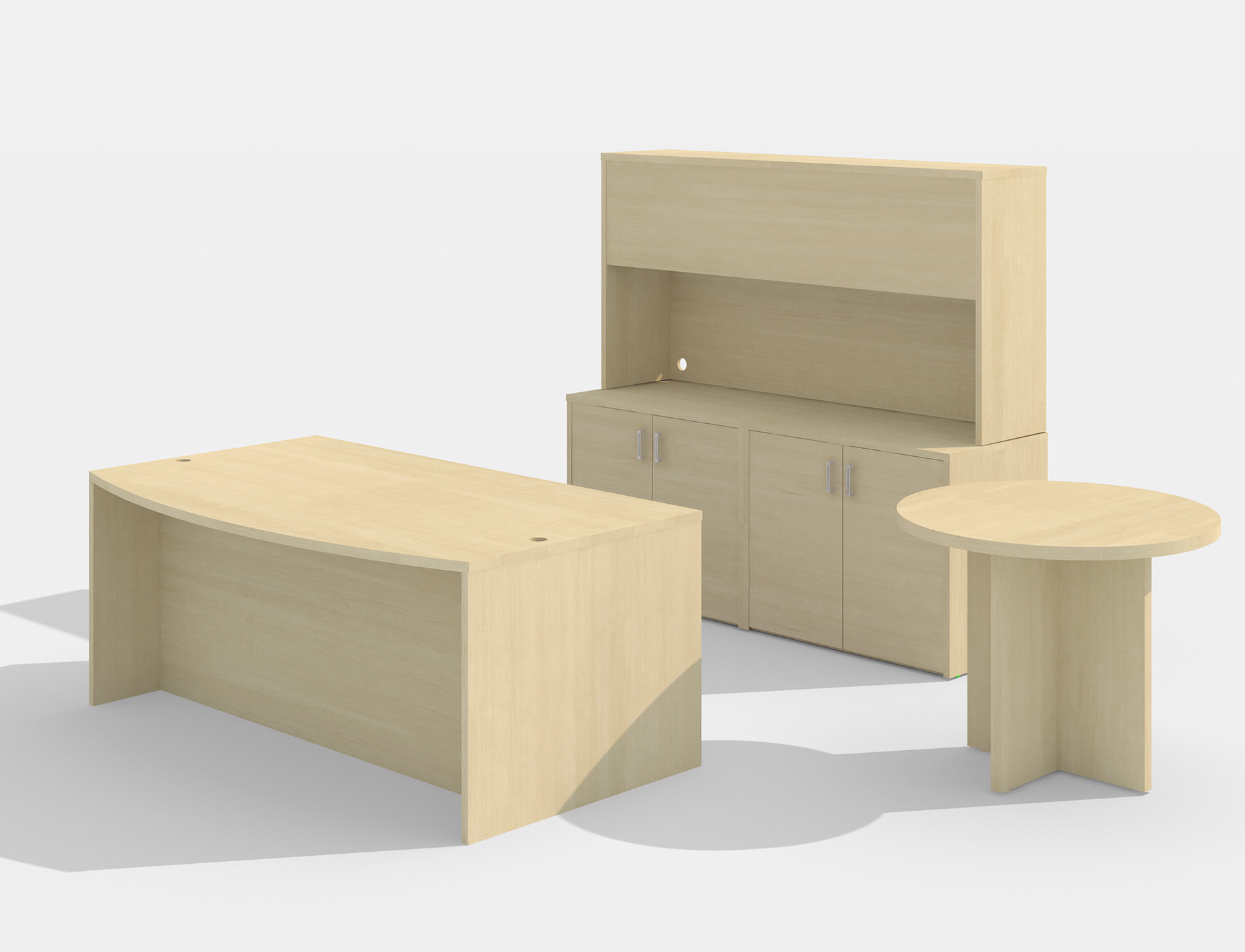 am-383n amber desk set with a722 side table in maple