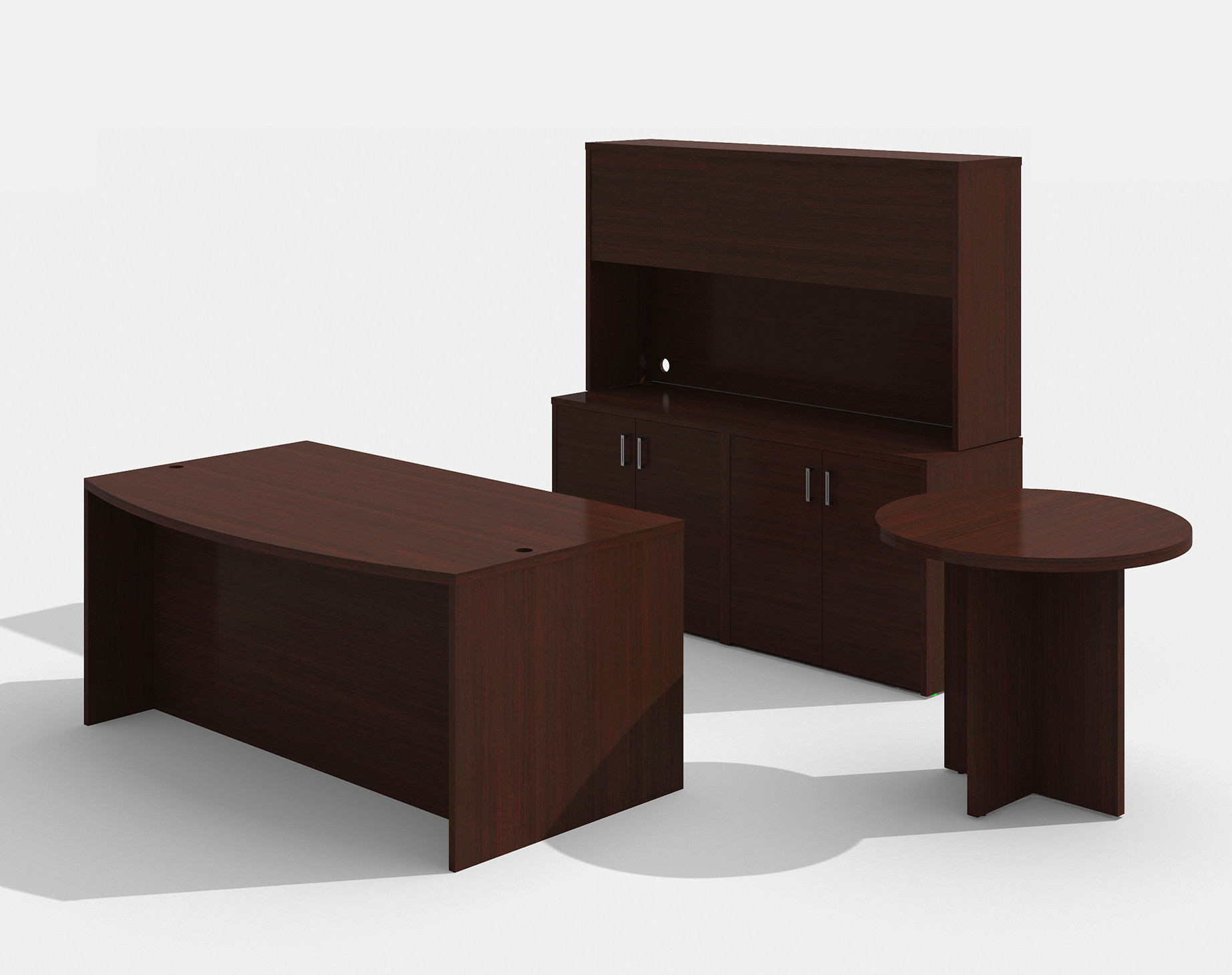 am-383n amber desk set with a722 side table in mahogany