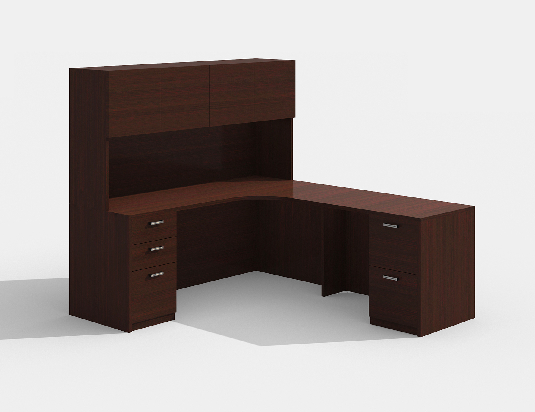 amber mahogany l desk with hutch