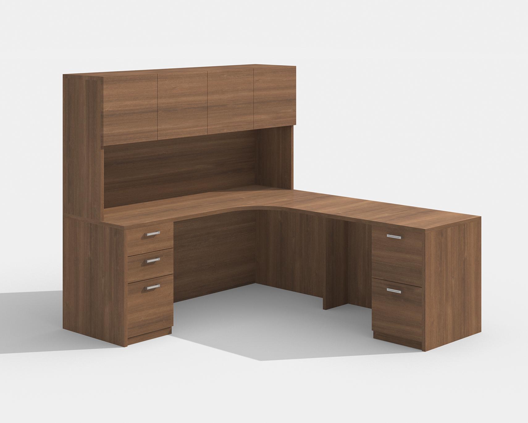 amber walnut l desk with hutch