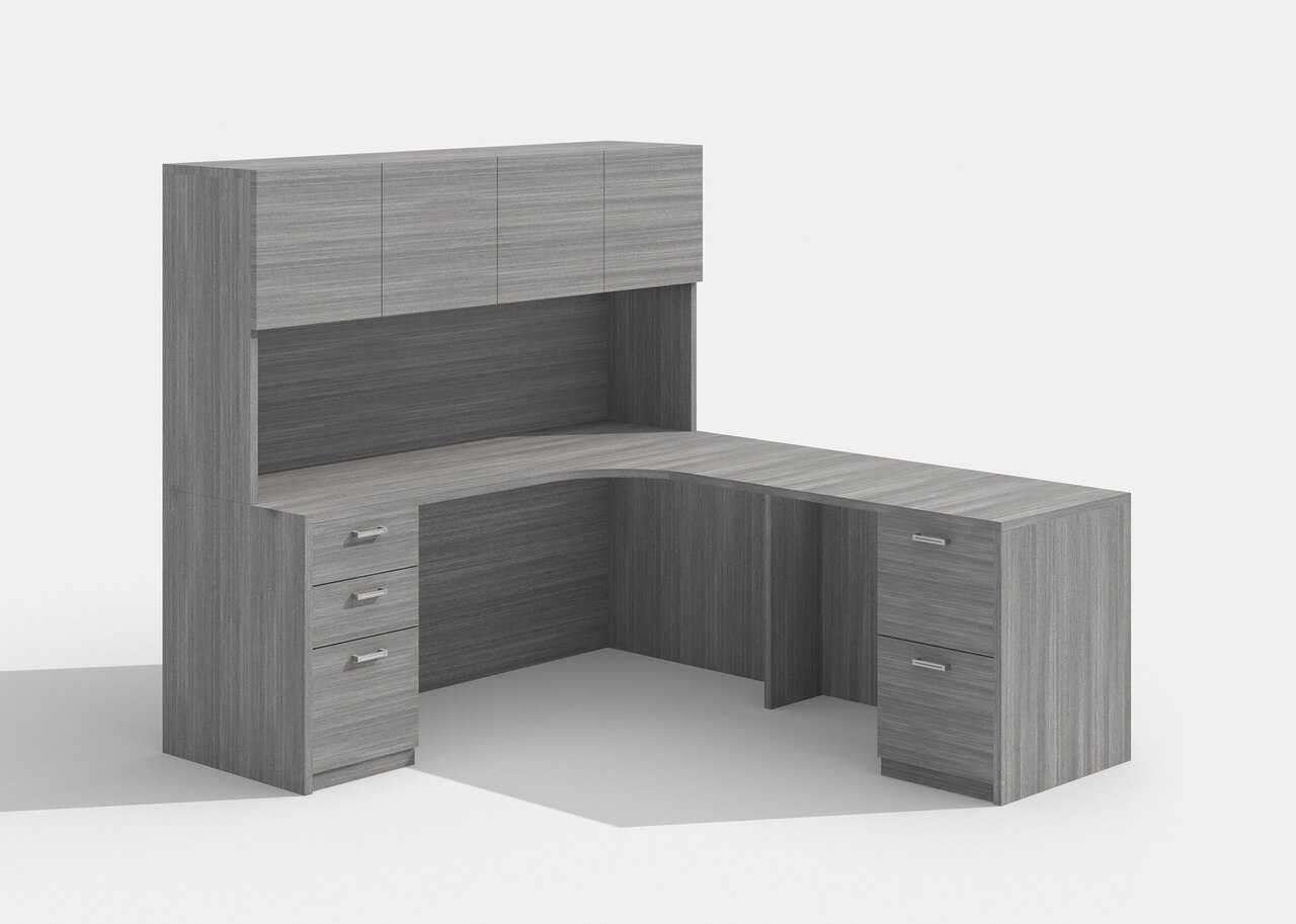 cherryman l desk with hutch in grey