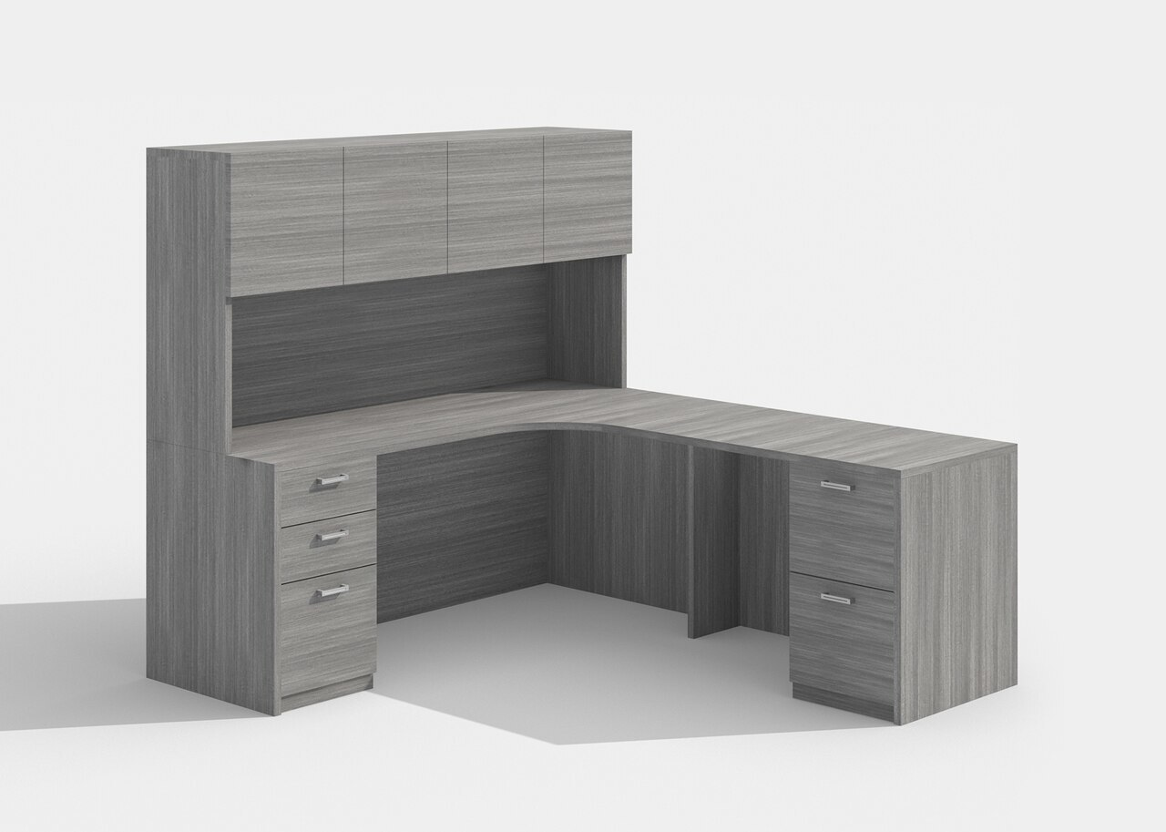 cherryman am-342 l desk with a426 hutch in grey