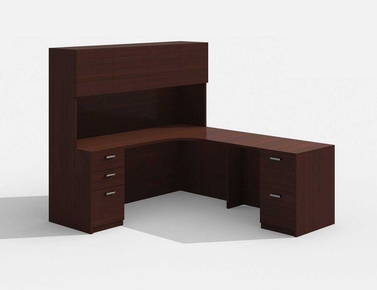 cherryman am-342 l desk with a426 hutch in mahogany