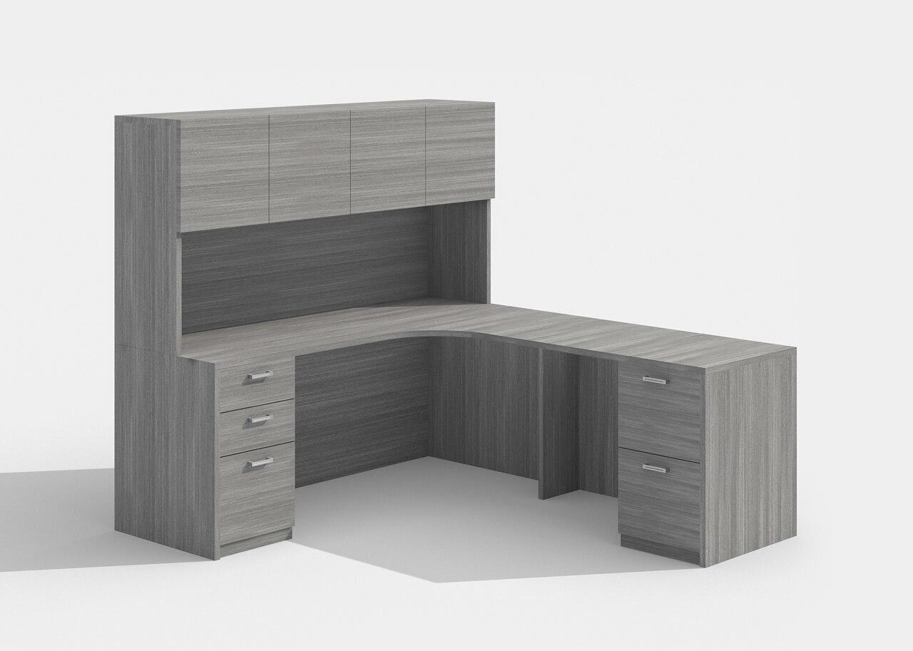cherryman am-343 l desk with a426 hutch in grey