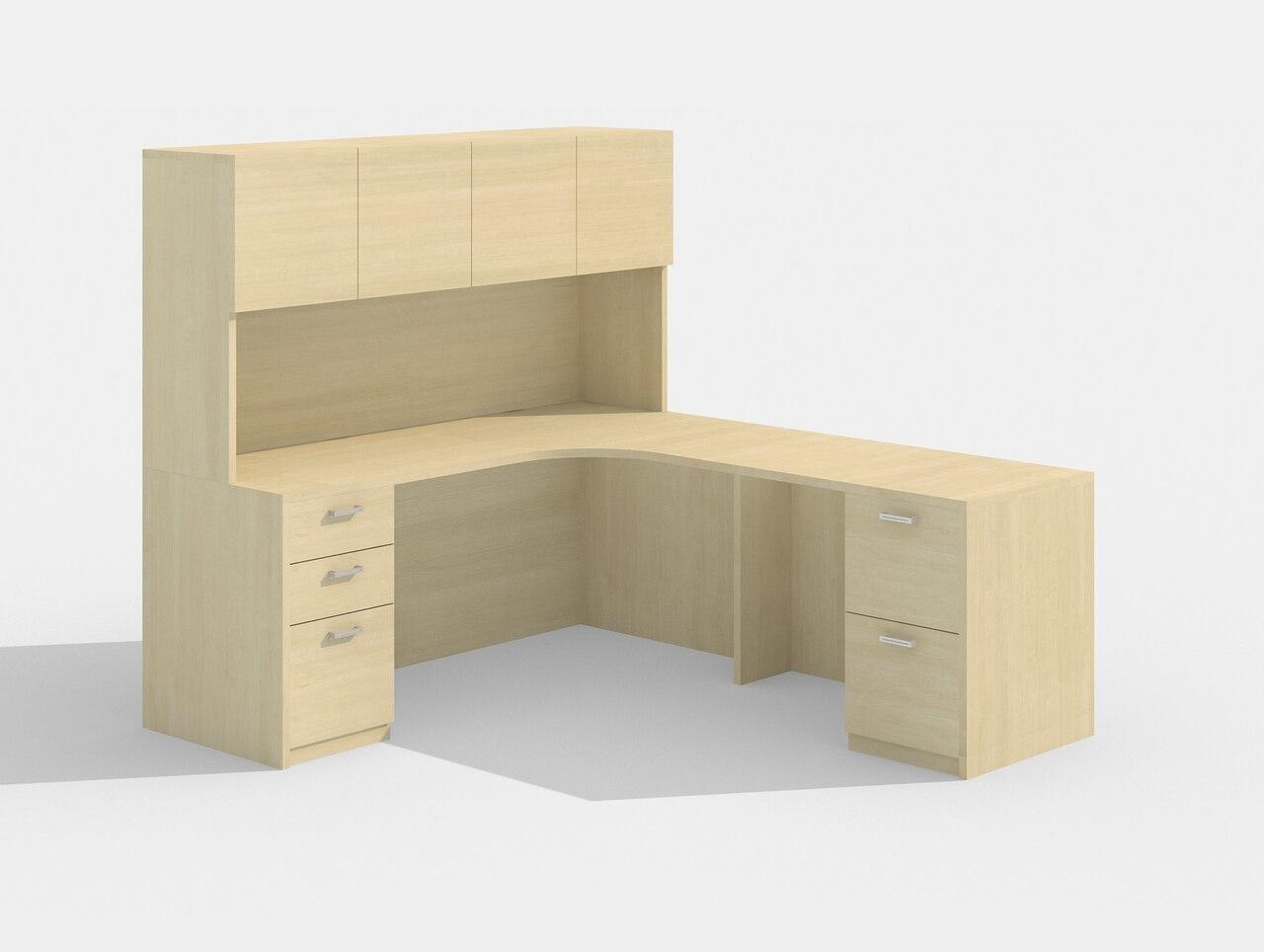 cherryman am-343 l desk with a426 hutch in maple