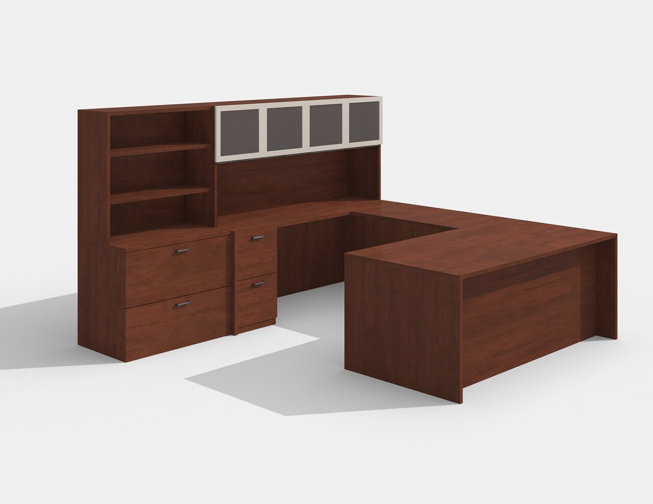 am-426n amber cherry u desk with glass doors