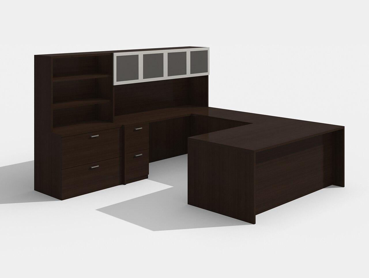am-426n amber black cherry u desk with glass doors