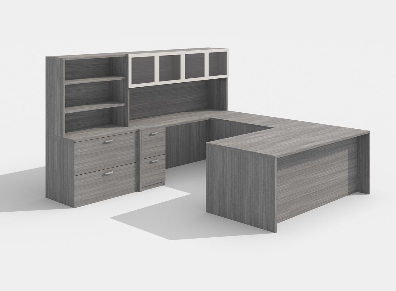 am-426n amber gray u desk with glass doors