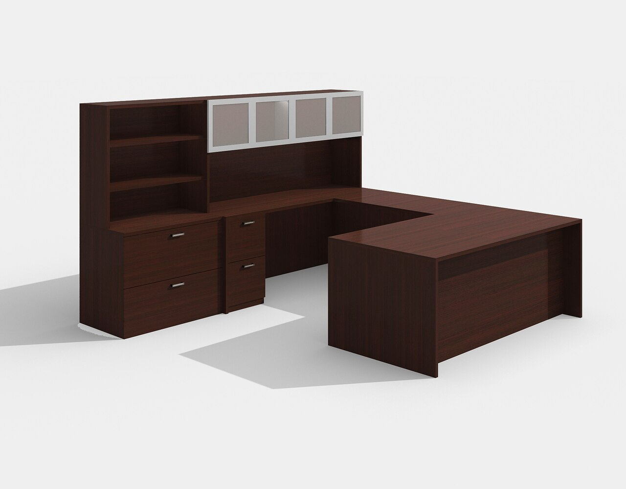 am-426n amber mahogany u desk with glass doors