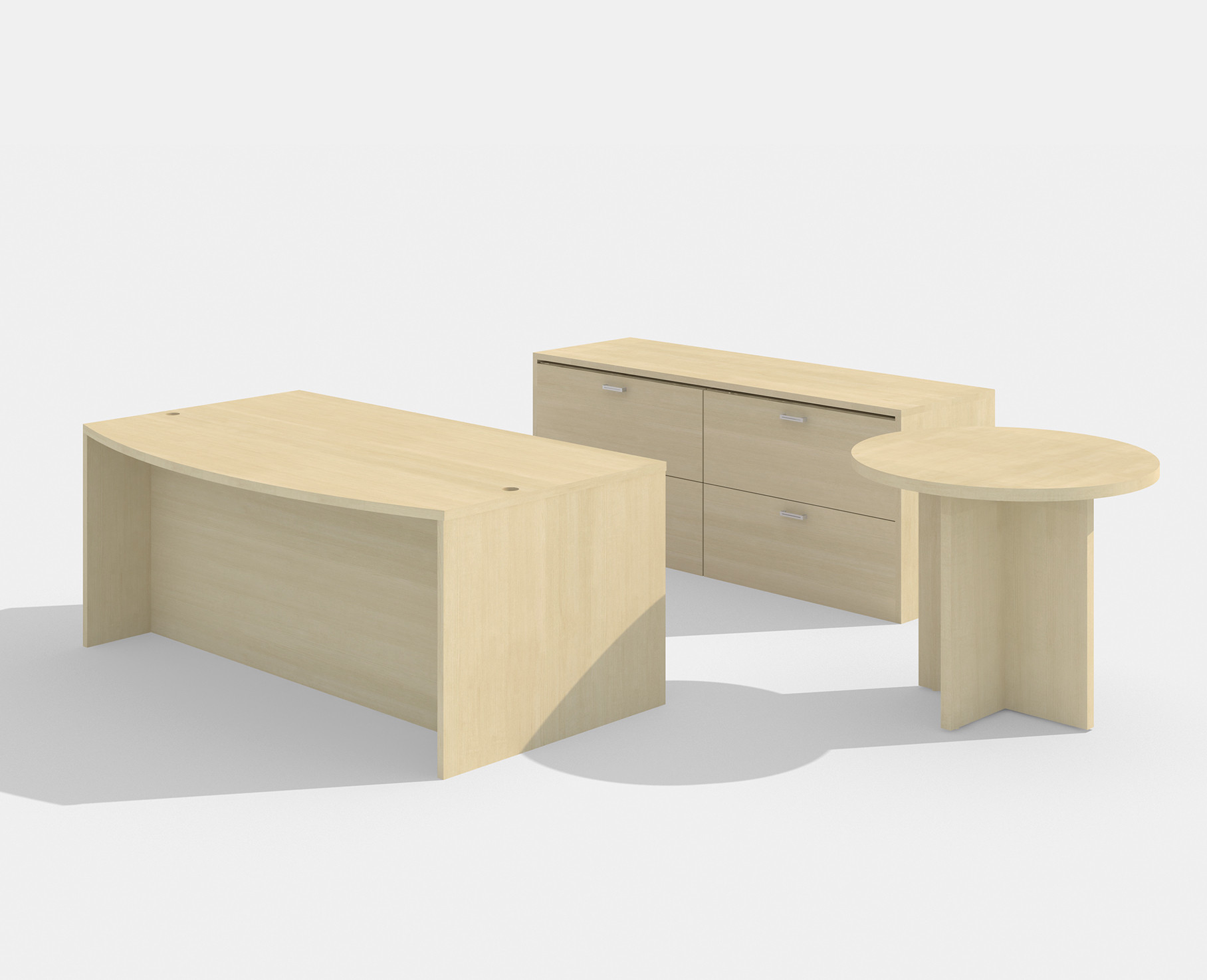 maple amber bow front desk with lateral file and side table