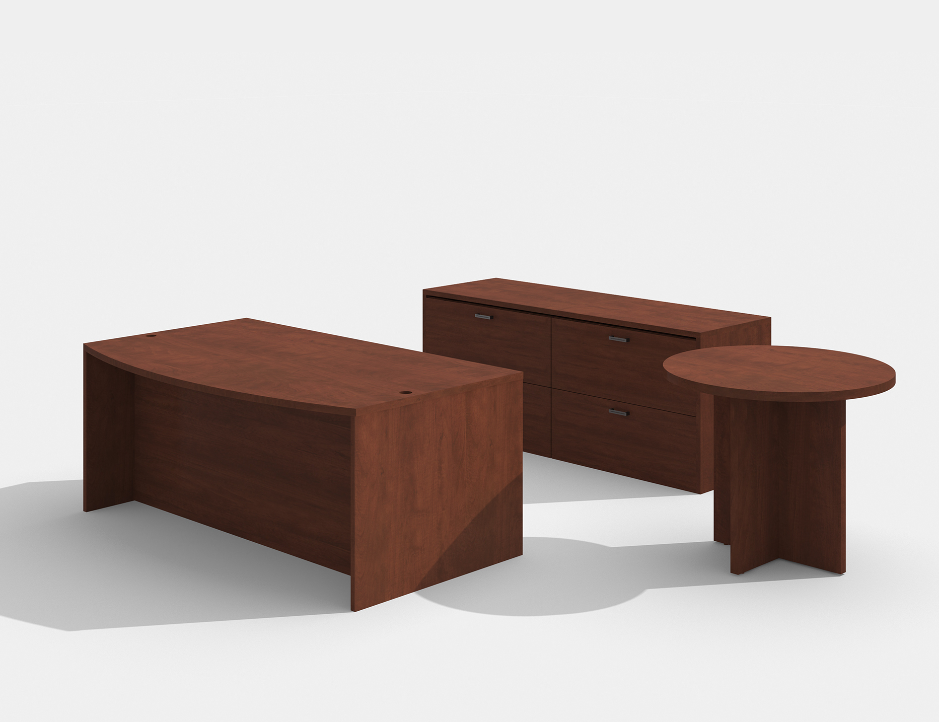 cherry amber bow front desk with lateral file and side table