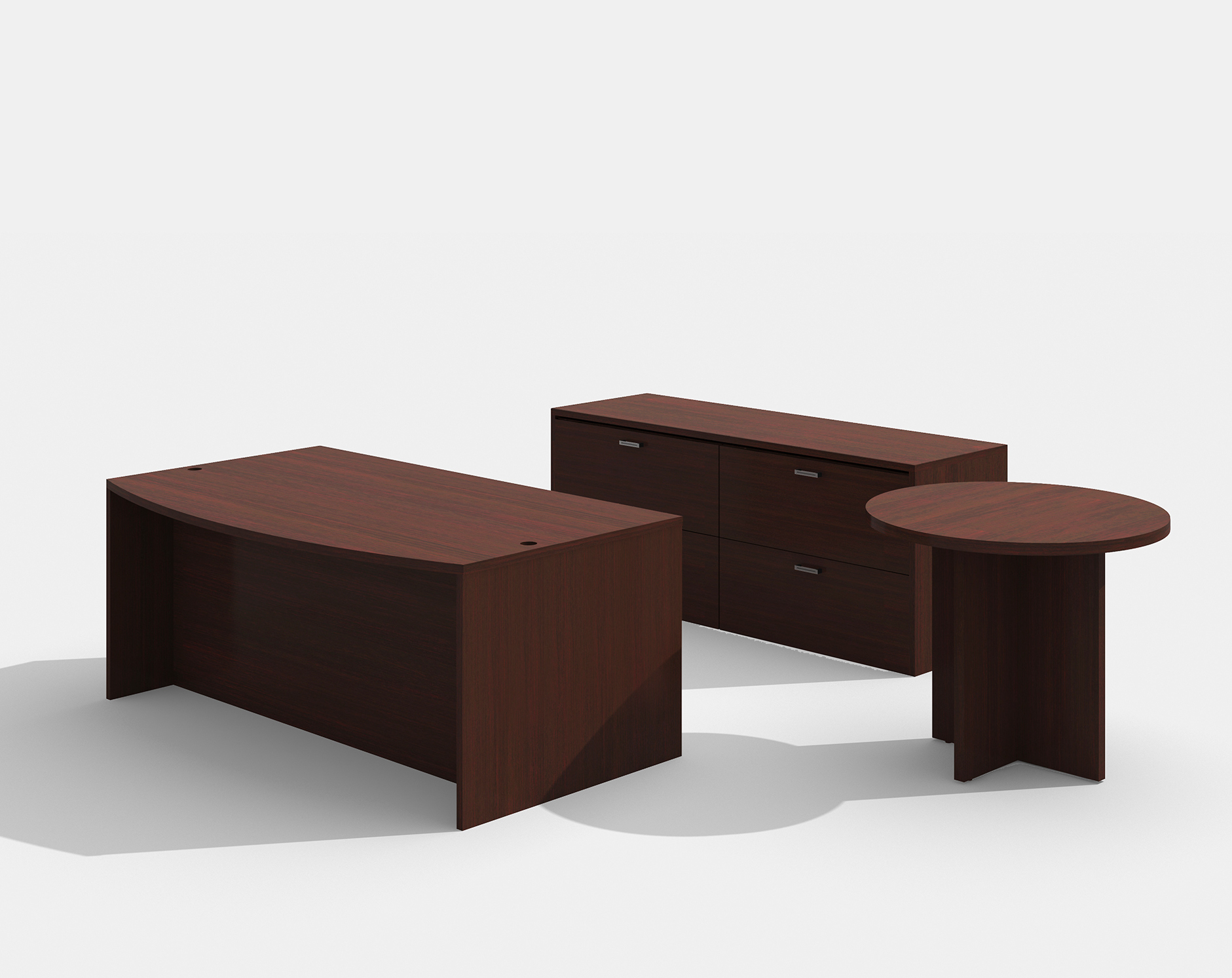 mahogany amber bow front desk with lateral file and side table