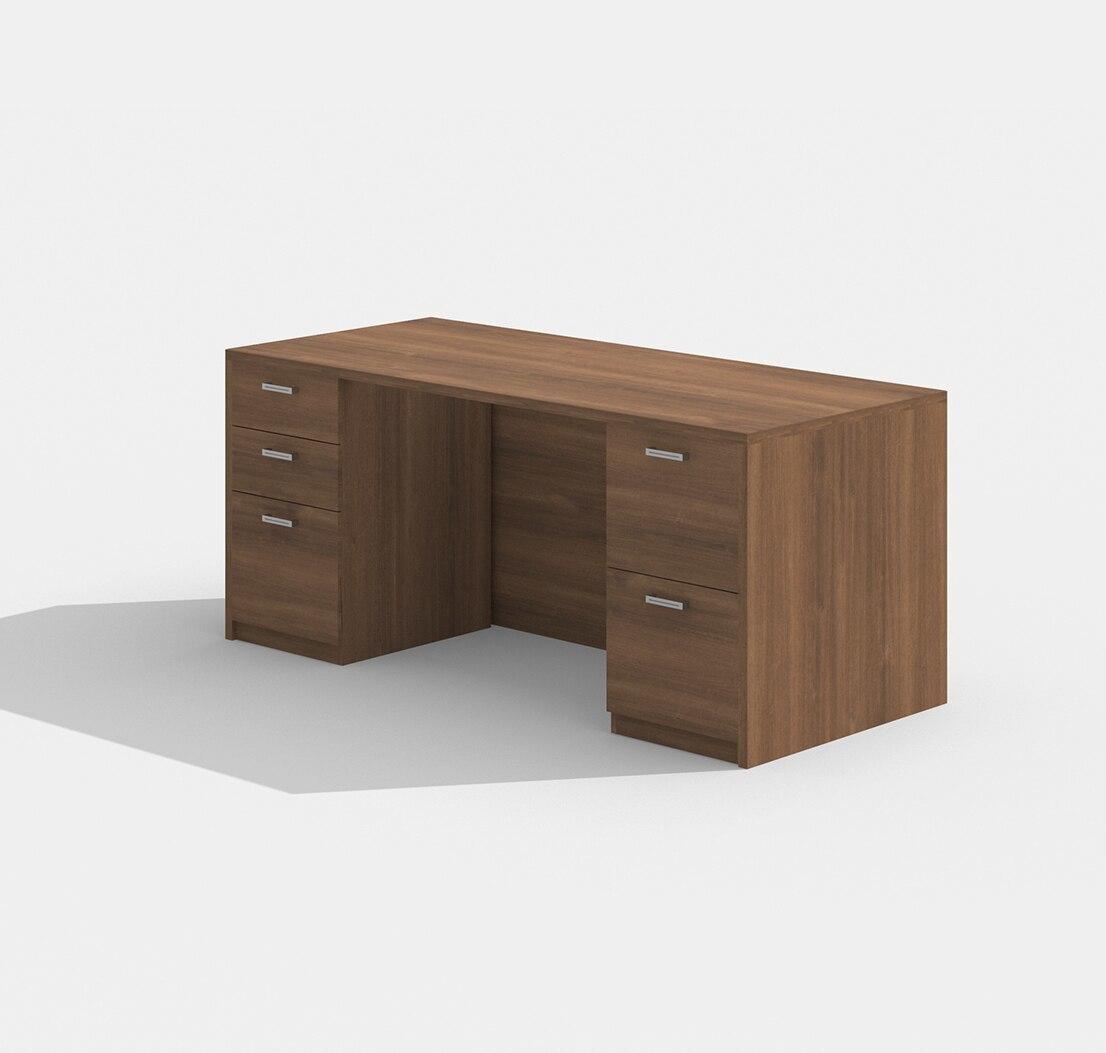 "amber 30"" x 71"" walnut double pedestal desk"
