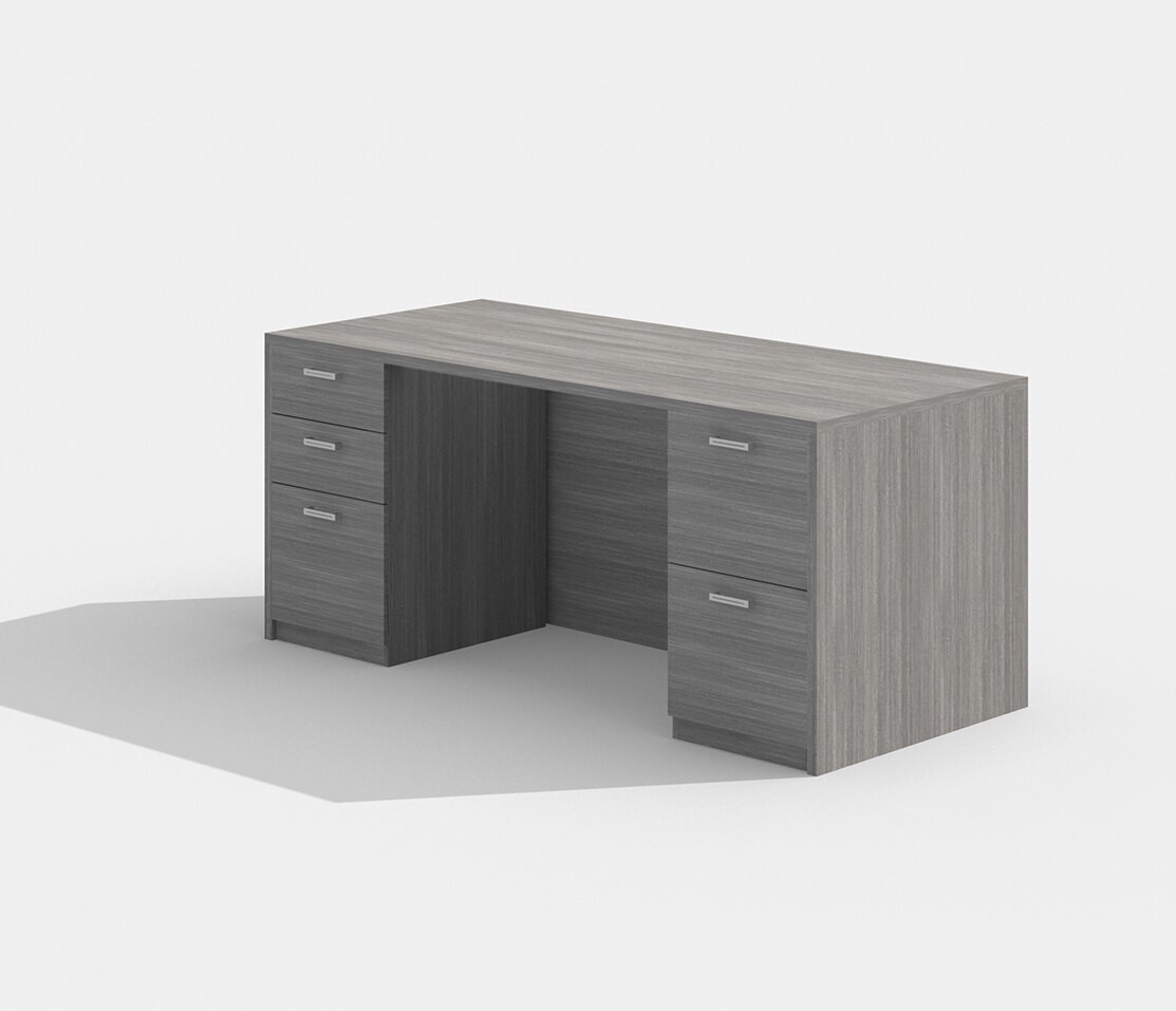 "amber 30"" x 71"" valley grey double pedestal desk"