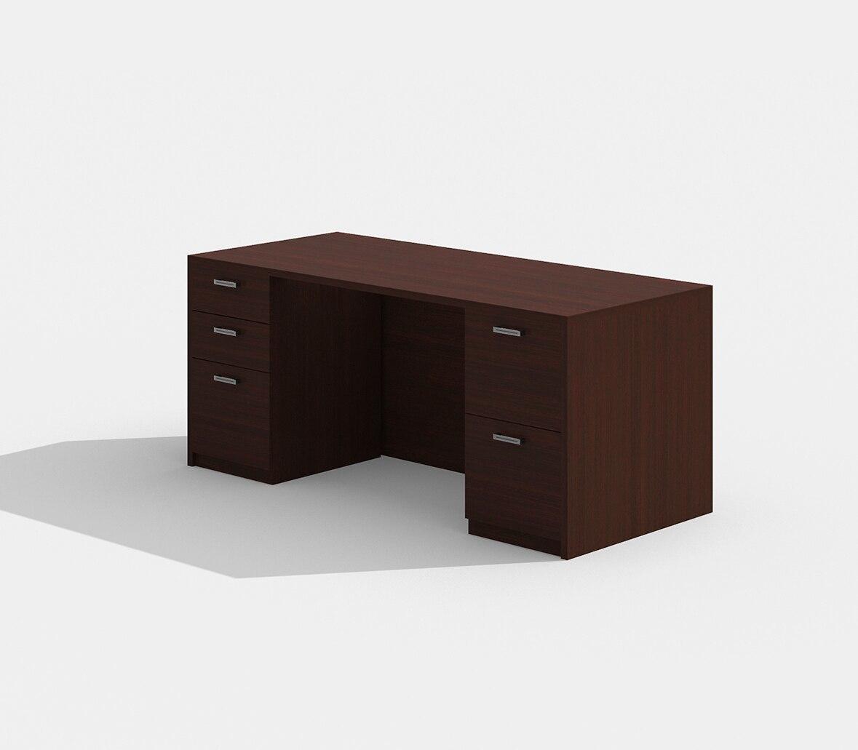 "amber 30"" x 71"" mahogany double pedestal desk"