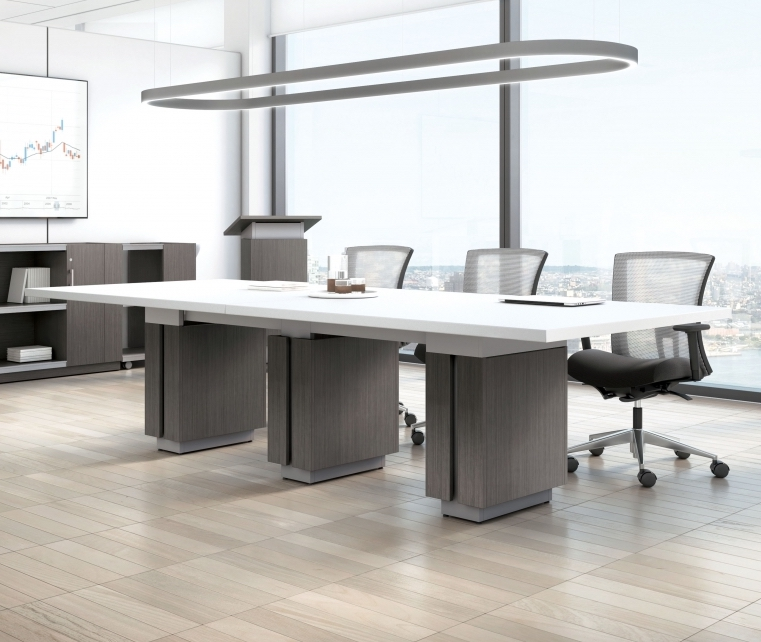 10' x 4' powered conference table with two-tone finish