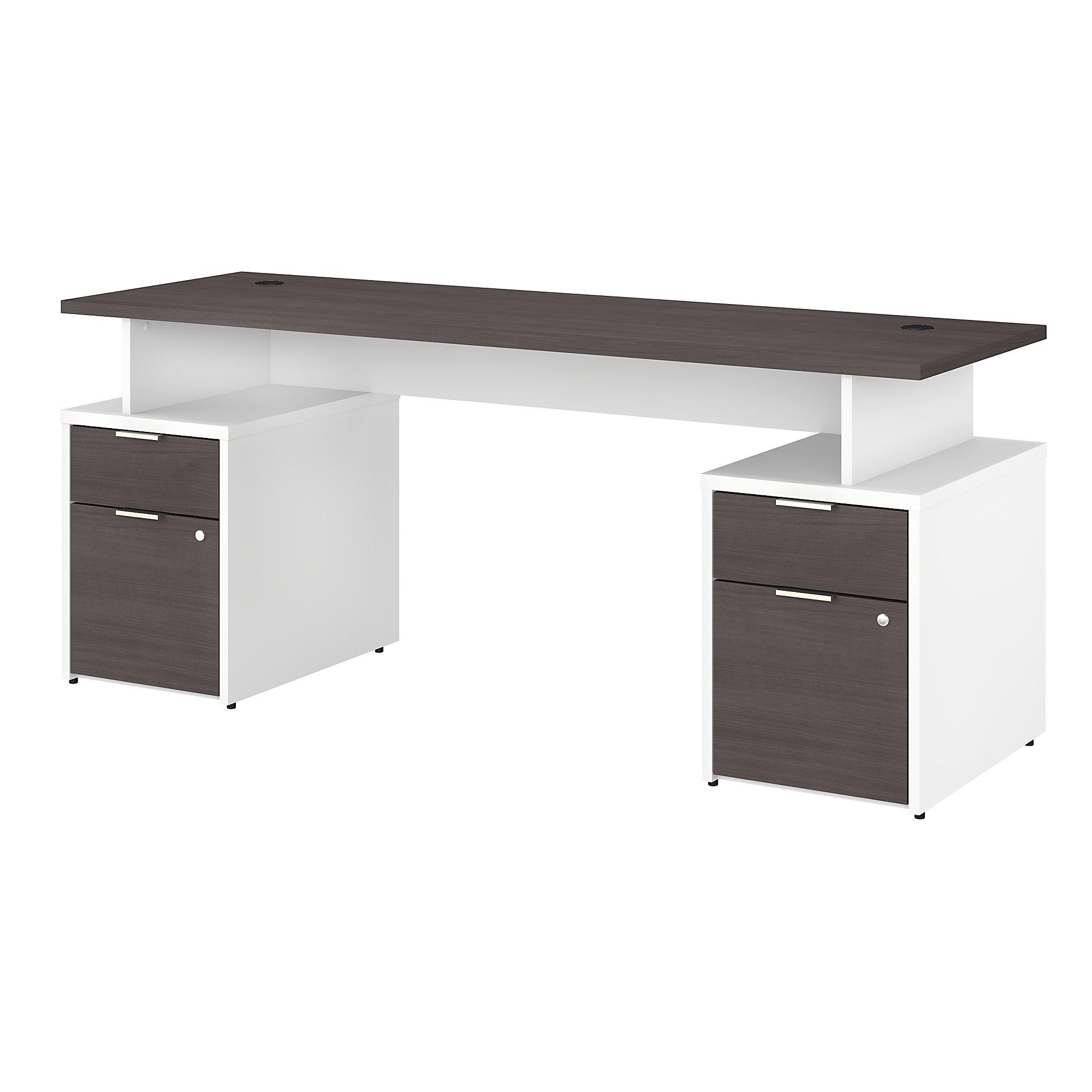 jamestown storm gray and white double pedestal desk